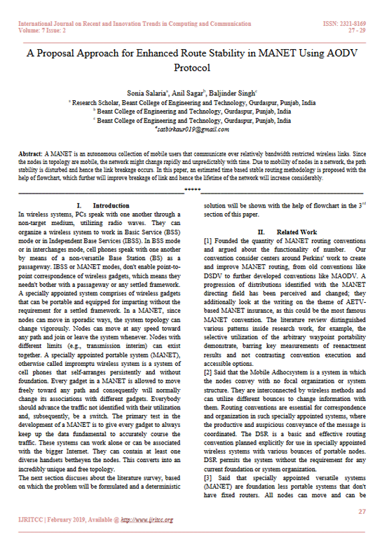 A Proposal Approach for Enhanced Route Stability in MANET Using AODV Protocol