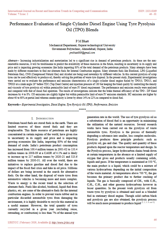 Performance Evaluation of Single Cylinder Diesel Engine Using Tyre Pyrolysis Oil (TPO) Blends