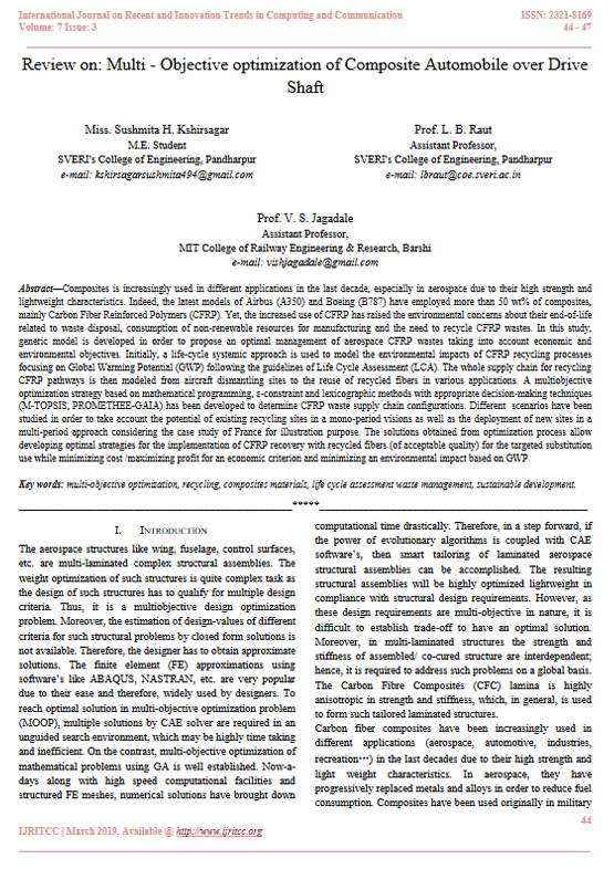Review on:  Multi  - Objective  optimization of Composite Automobile over Drive  Shaft