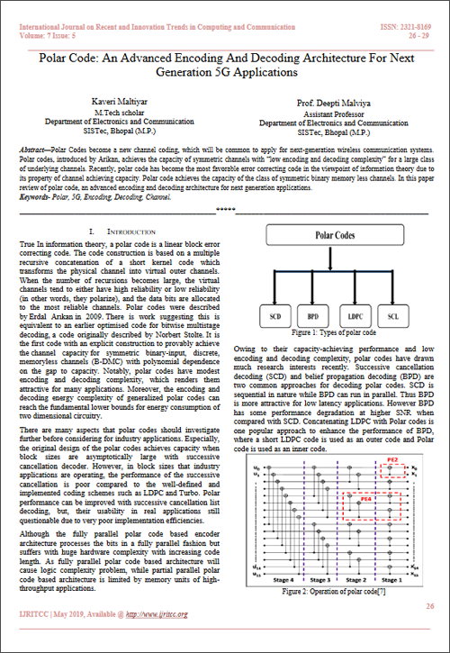 Polar Code: An Advanced Encoding And Decoding Architecture For Next Generation 5G Applications