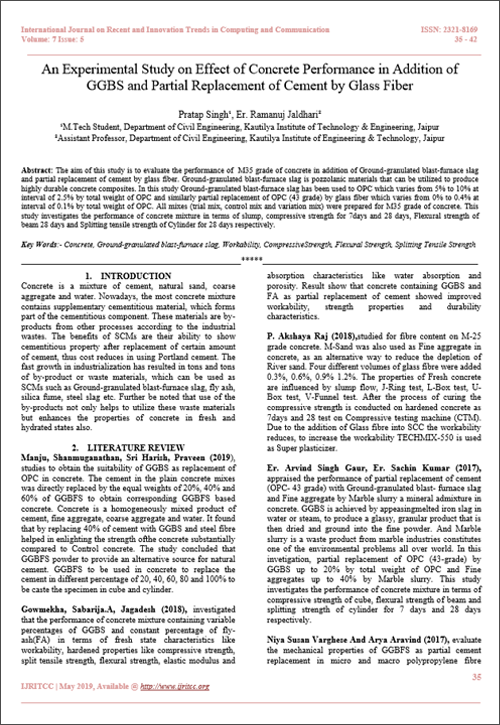 An Experimental Study on Effect of Concrete Performance in Addition of GGBS and Partial Replacement of Cement by Glass Fiber