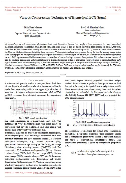 Various Compression Techniques of Biomedical ECG Signal