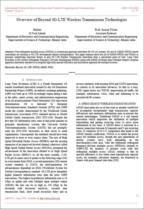 Overview of Beyond 4G-LTE Wireless Transmission Technologies